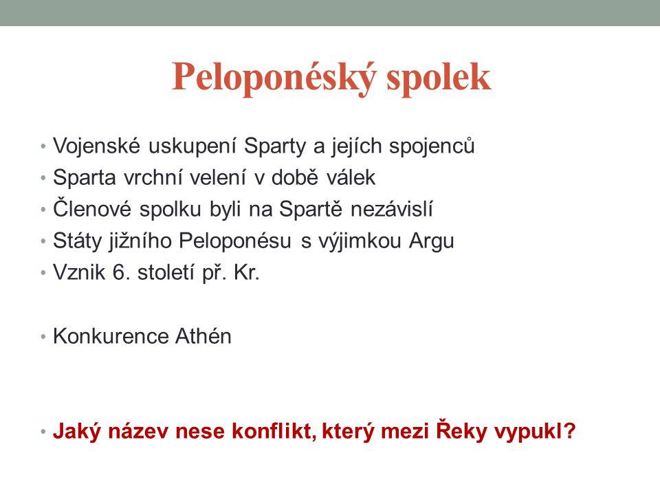 Peloponéský spolek Vojenské uskupení Sparty a jejích spojenců Sparta vrchní velení v době válek Členové spolku byli na Spartě nezávislí Státy jižního Peloponésu s výjimkou Argu Vznik 6.