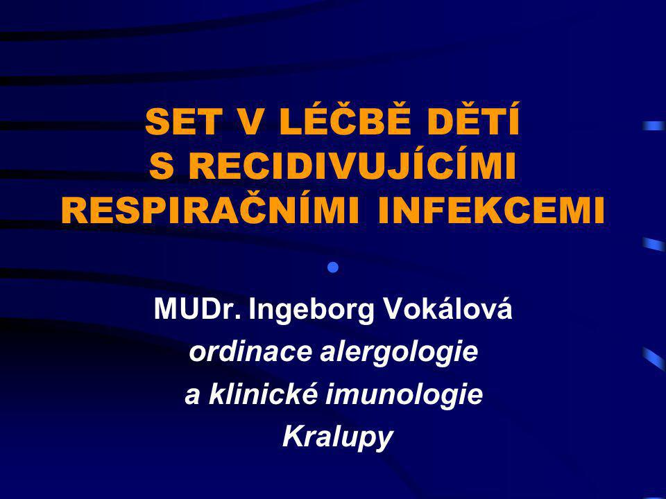 SET 1999 - 2001 nejčastější odchylky v imunologickém vyšetření  IgE 45 pac.