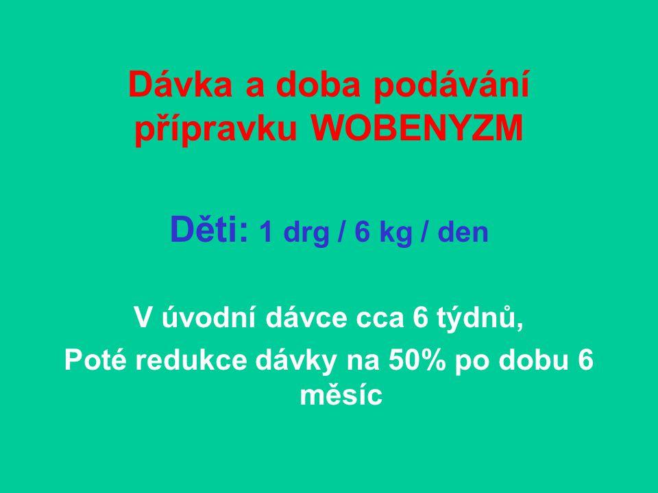 Dávka a doba podávání přípravku WOBENYZM Děti: 1 drg / 6 kg / den V úvodní dávce cca 6 týdnů, Poté redukce dávky na 50% po dobu 6 měsíc