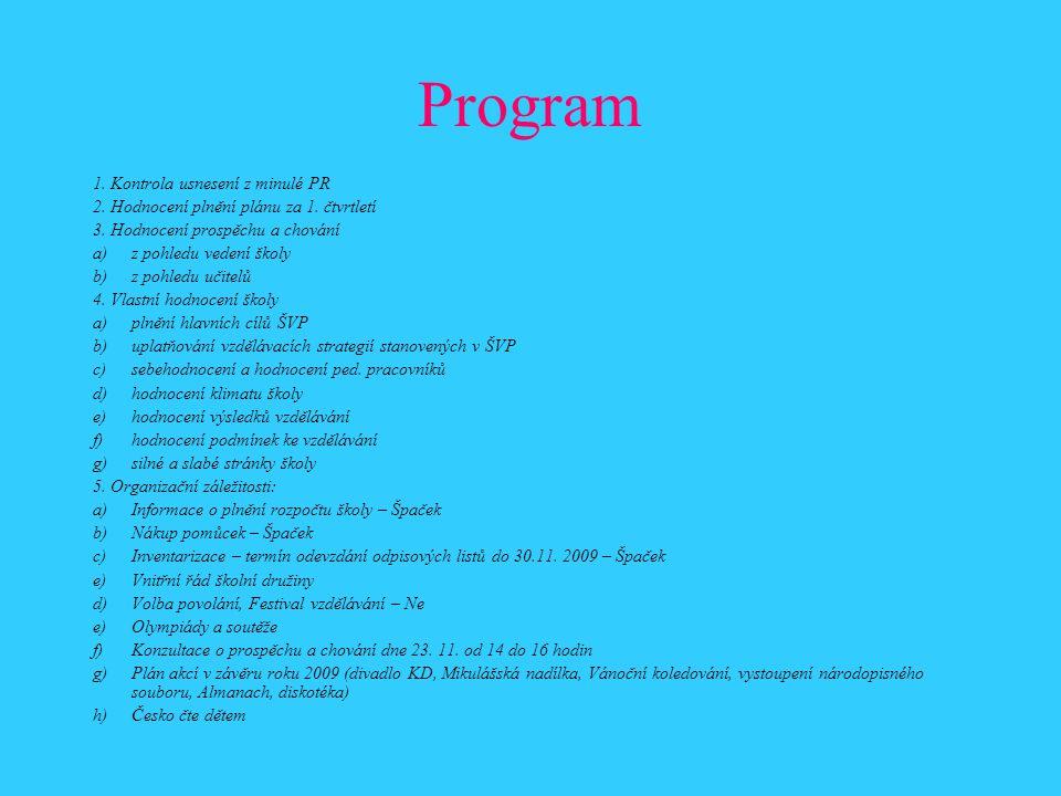 Program 1. Kontrola usnesení z minulé PR 2. Hodnocení plnění plánu za 1. čtvrtletí 3. Hodnocení prospěchu a chování a)z pohledu vedení školy b)z pohle