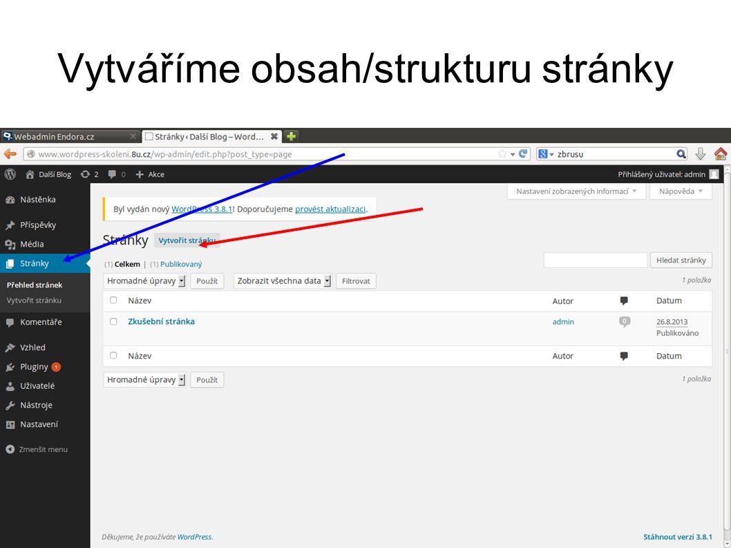 Vytváříme obsah/strukturu stránky