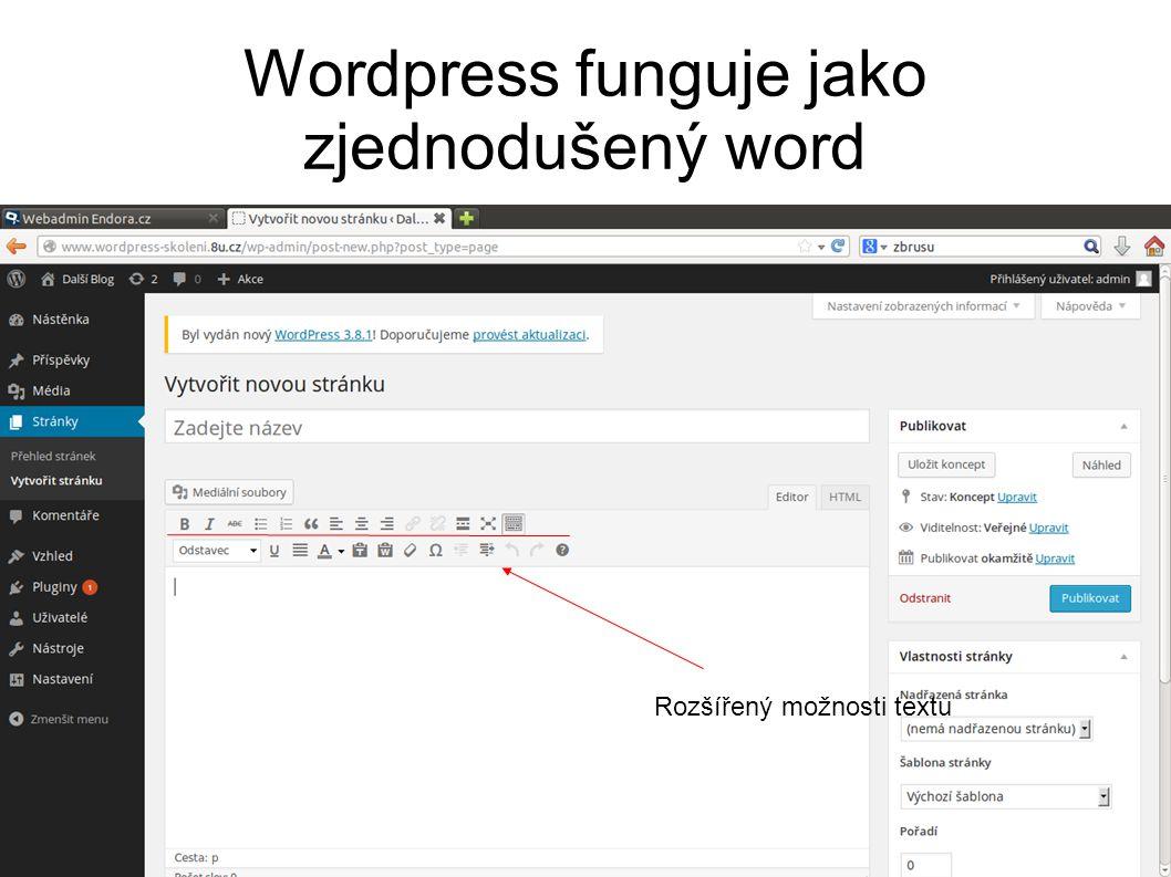 Wordpress funguje jako zjednodušený word Rozšířený možnosti textu