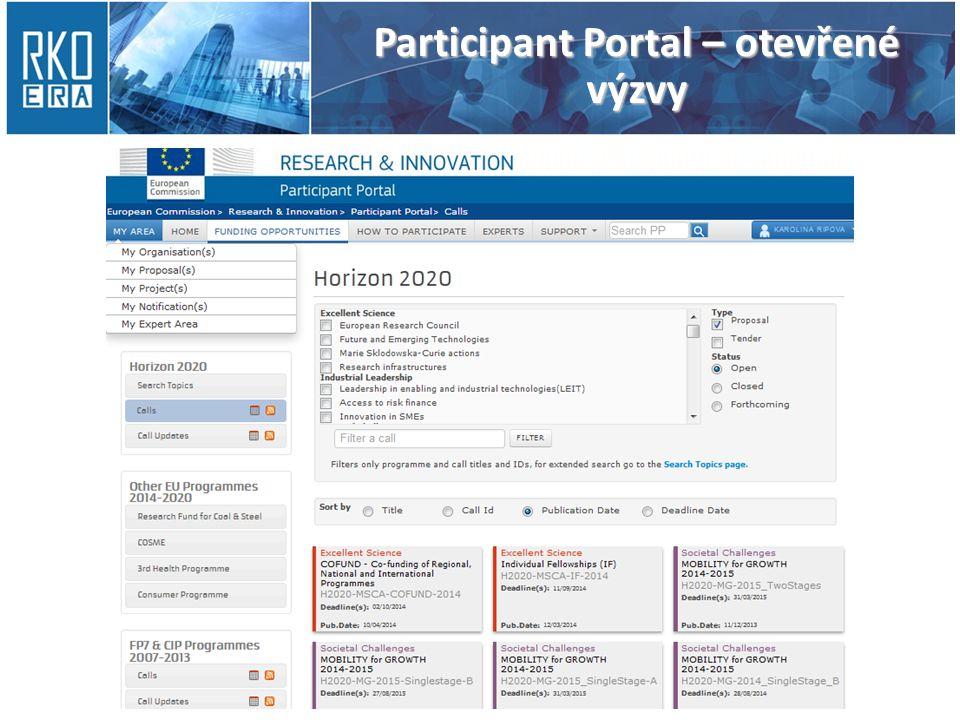 Participant Portal – otevřené výzvy