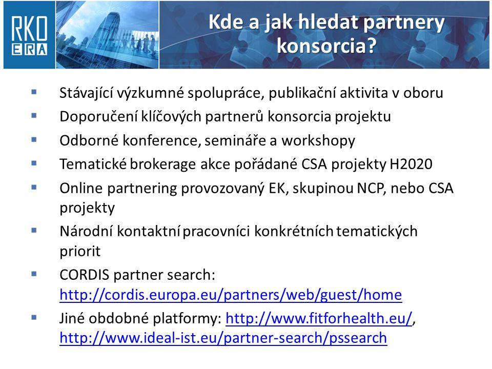 Kde a jak hledat partnery konsorcia.