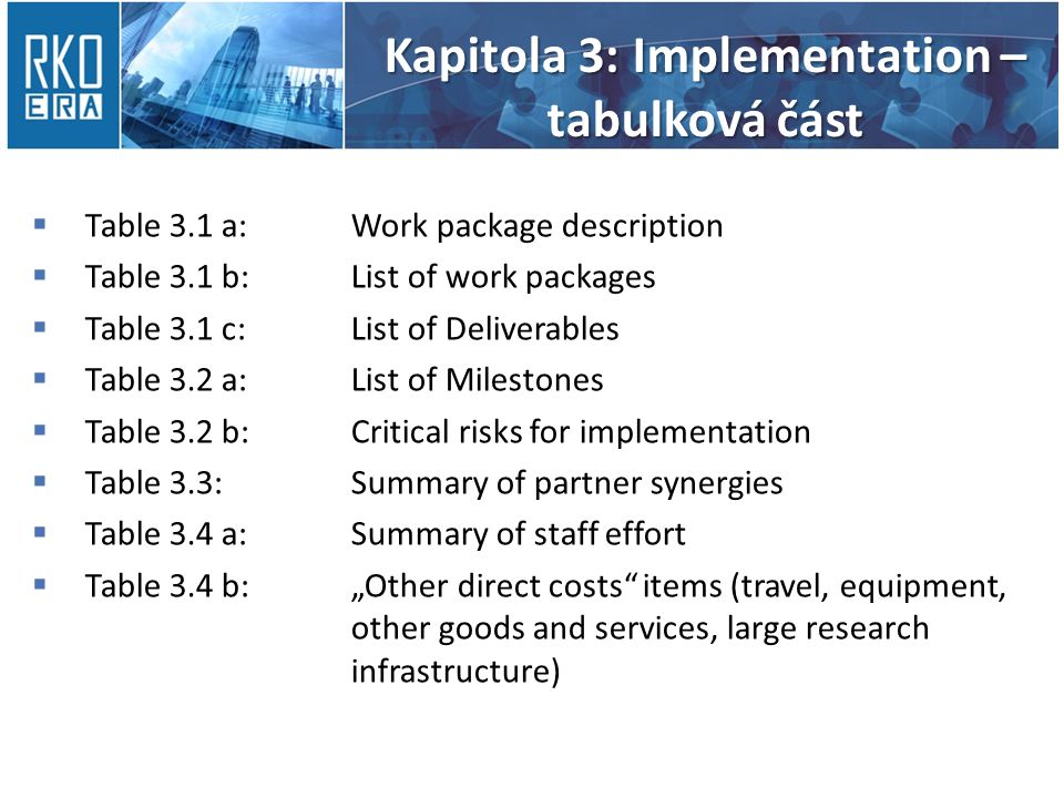 Kapitola 3: Implementation – tabulková část  Table 3.1 a:Work package description  Table 3.1 b:List of work packages  Table 3.1 c:List of Deliverab