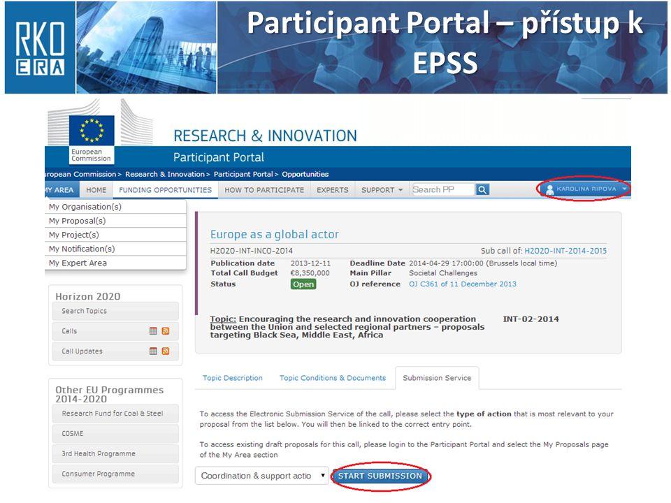 Participant Portal – přístup k EPSS