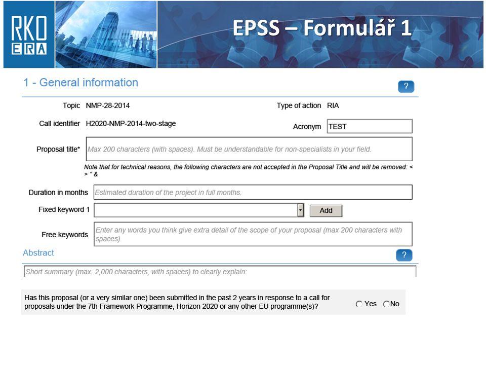 EPSS – Formulář 1
