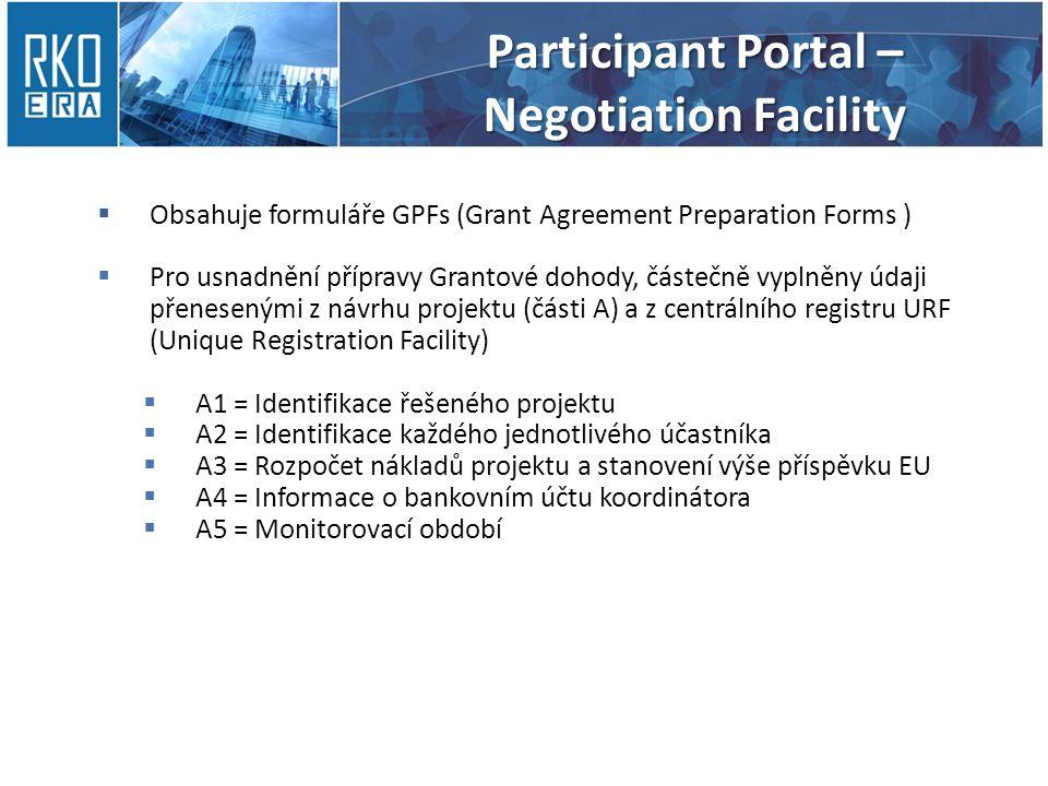 Obsahuje formuláře GPFs (Grant Agreement Preparation Forms )  Pro usnadnění přípravy Grantové dohody, částečně vyplněny údaji přenesenými z návrhu projektu (části A) a z centrálního registru URF (Unique Registration Facility)  A1 = Identifikace řešeného projektu  A2 = Identifikace každého jednotlivého účastníka  A3 = Rozpočet nákladů projektu a stanovení výše příspěvku EU  A4 = Informace o bankovním účtu koordinátora  A5 = Monitorovací období