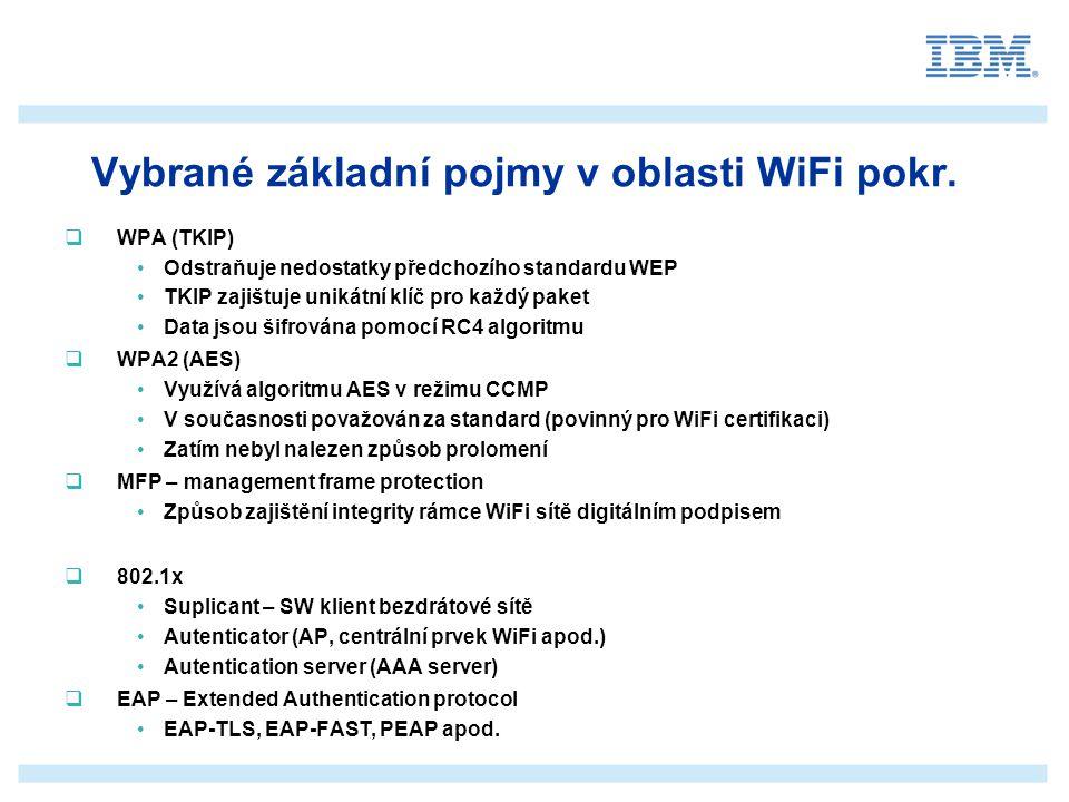 _______________ __________ _____ ____ Mastertextformat bearbeiten Zweite Ebene Dritte Ebene Vierte Ebene Fünfte Ebene Architektura založená na platformě Cisco  Základní požadavky bezpečné WiFi sítě jsou Ochrana vlastní WiFi infrastruktury (MFP, IPS) Ocharana spojení mezi WiFi infrastrukturou a klienty Šifrování a autentizace Využití robustního autentizačního systému (802.1x) Použití vhodného mechanizmu pro autentizaci (EAP-TLS, PEAP...) Použití vhodného algoritmu šifrování (WPA reps.