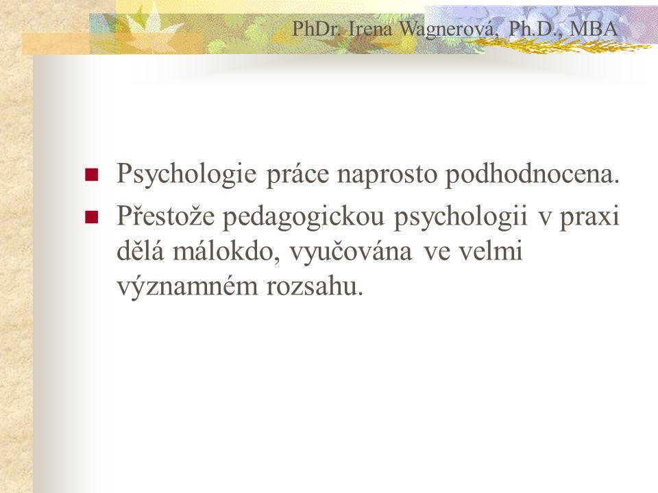 Psychologie práce naprosto podhodnocena.
