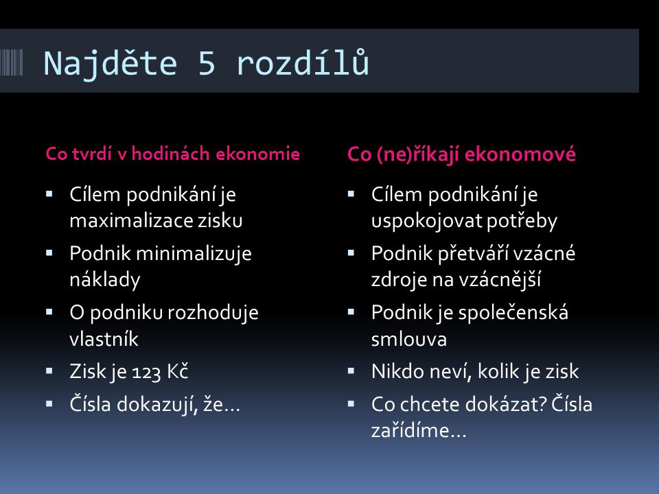 Slovíčka (5 minut)  Economics – Economy – Economical  Turnover – Revenue – Output  Gain – Profit – Margin  Price – Cost  Expense – Loss  Unit Cost – Average Cost – Margin Cost  Fixed Cost – Total Cost – Sunk Cost  Variable Cost – Volatile Cost