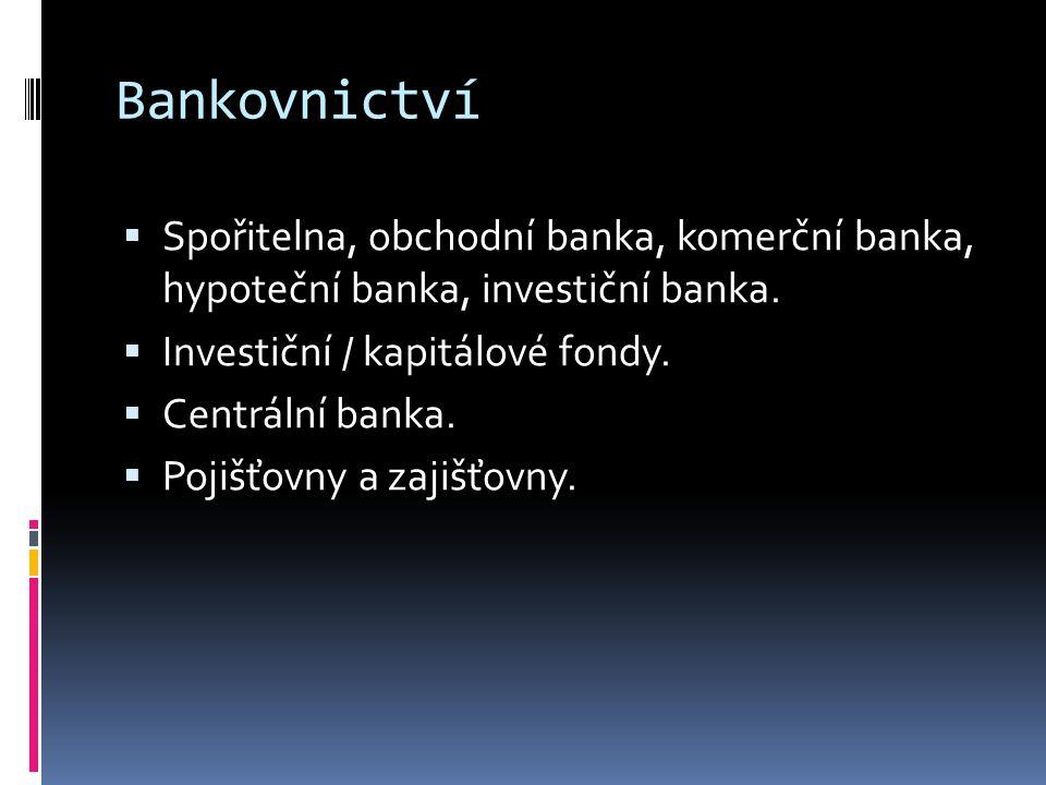 Bankovnictví  Spořitelna, obchodní banka, komerční banka, hypoteční banka, investiční banka.  Investiční / kapitálové fondy.  Centrální banka.  Po