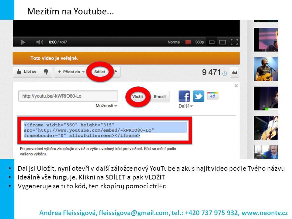 Mezitím na Youtube... Dal jsi Uložit, nyní otevři v další záložce nový YouTube a zkus najít video podle Tvého názvu Ideálně vše funguje. Klikni na SDÍ