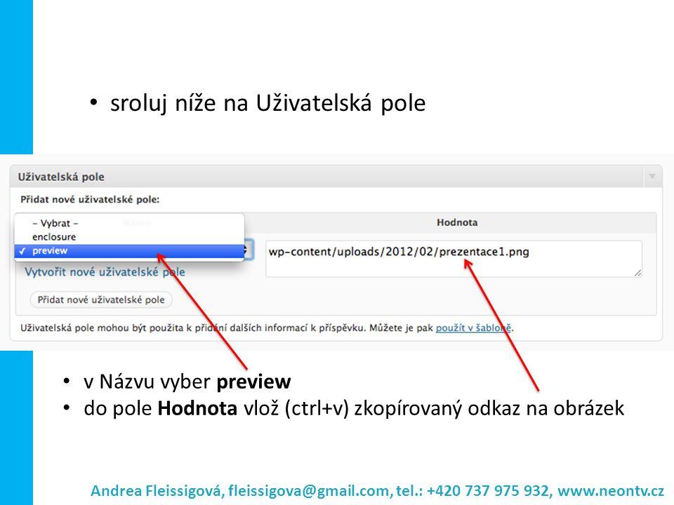 Andrea Fleissigová, fleissigova@gmail.com, tel.: +420 737 975 932, www.neontv.cz v Názvu vyber preview do pole Hodnota vlož (ctrl+v) zkopírovaný odkaz