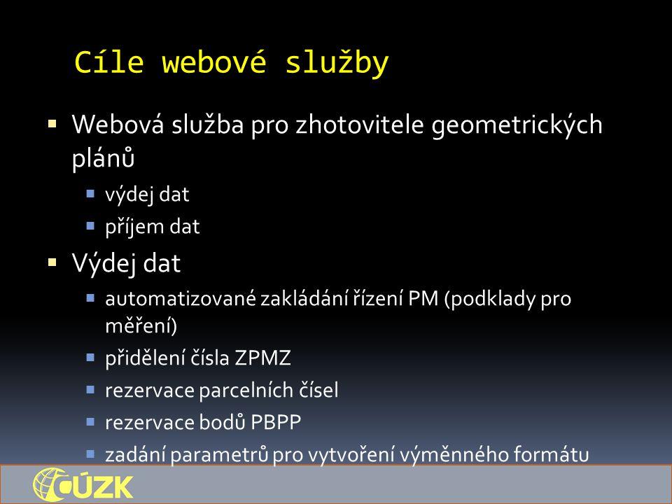 Cíle webové služby  Webová služba pro zhotovitele geometrických plánů  výdej dat  příjem dat  Výdej dat  automatizované zakládání řízení PM (podklady pro měření)  přidělení čísla ZPMZ  rezervace parcelních čísel  rezervace bodů PBPP  zadání parametrů pro vytvoření výměnného formátu