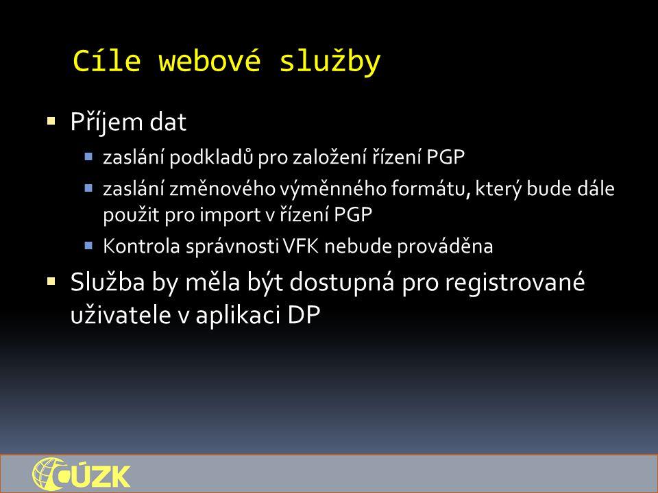 Cíle webové služby  Příjem dat  zaslání podkladů pro založení řízení PGP  zaslání změnového výměnného formátu, který bude dále použit pro import v řízení PGP  Kontrola správnosti VFK nebude prováděna  Služba by měla být dostupná pro registrované uživatele v aplikaci DP