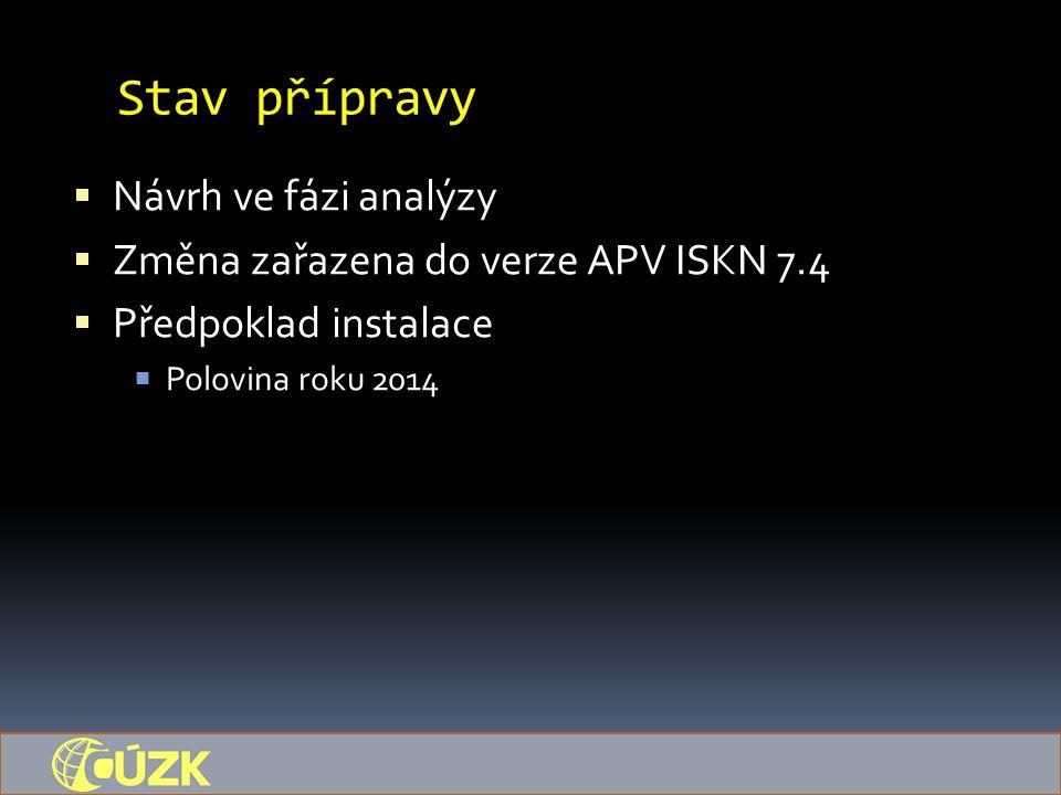 Stav přípravy  Návrh ve fázi analýzy  Změna zařazena do verze APV ISKN 7.4  Předpoklad instalace  Polovina roku 2014