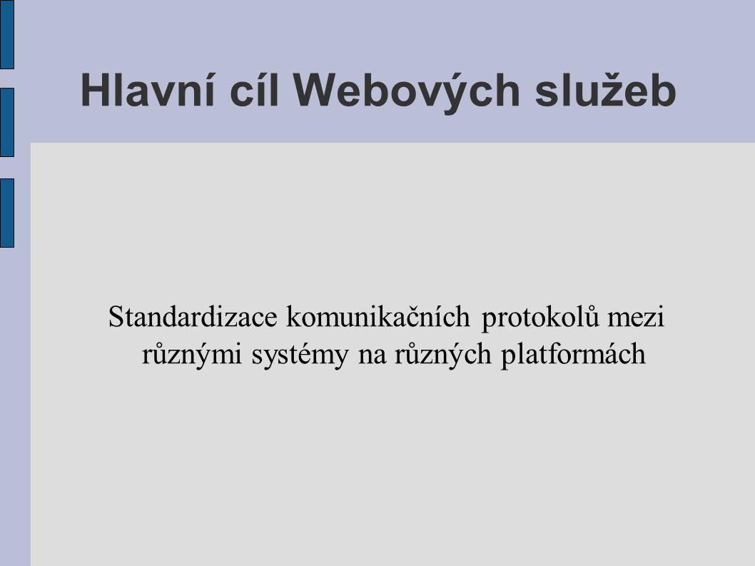 Hlavní cíl Webových služeb Standardizace komunikačních protokolů mezi různými systémy na různých platformách
