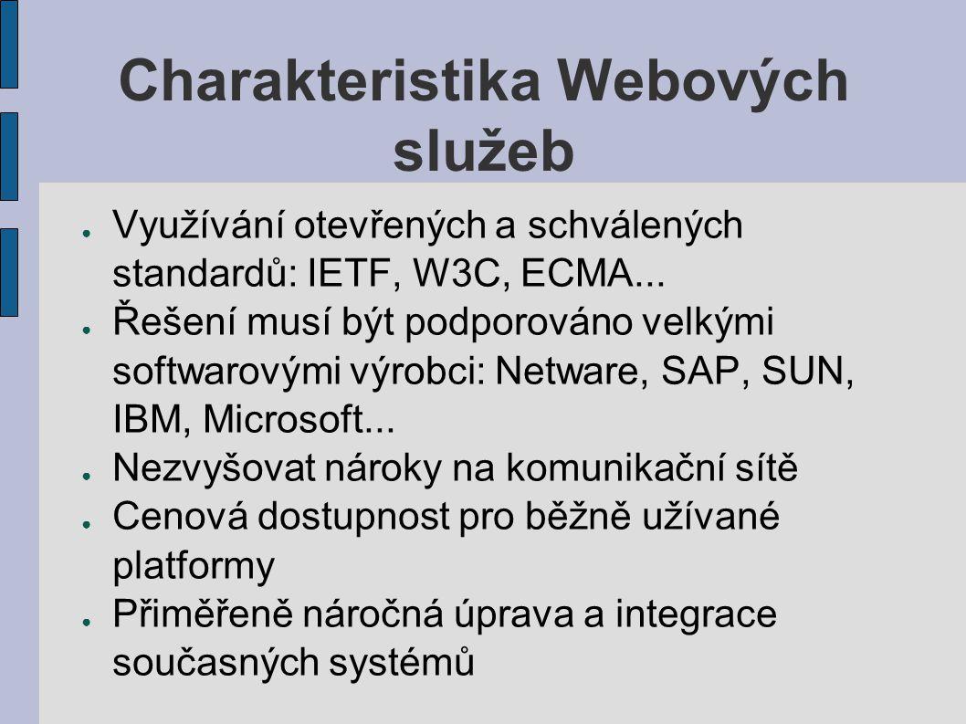 Charakteristika Webových služeb ● Využívání otevřených a schválených standardů: IETF, W3C, ECMA... ● Řešení musí být podporováno velkými softwarovými