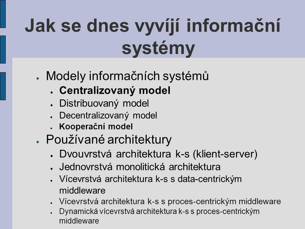 Jak se dnes vyvíjí informační systémy ● Modely informačních systémů ● Centralizovaný model ● Distribuovaný model ● Decentralizovaný model ● Kooperační