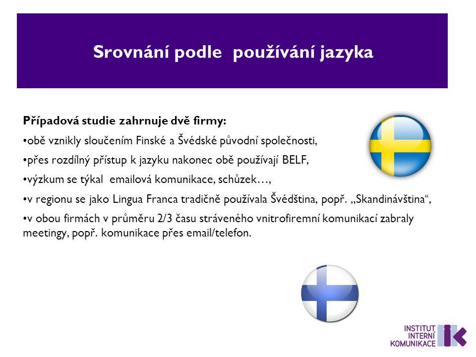Srovnání podle používání jazyka Případová studie zahrnuje dvě firmy: obě vznikly sloučením Finské a Švédské původní společnosti, přes rozdílný přístup k jazyku nakonec obě používají BELF, výzkum se týkal emailová komunikace, schůzek…, v regionu se jako Lingua Franca tradičně používala Švédština, popř.
