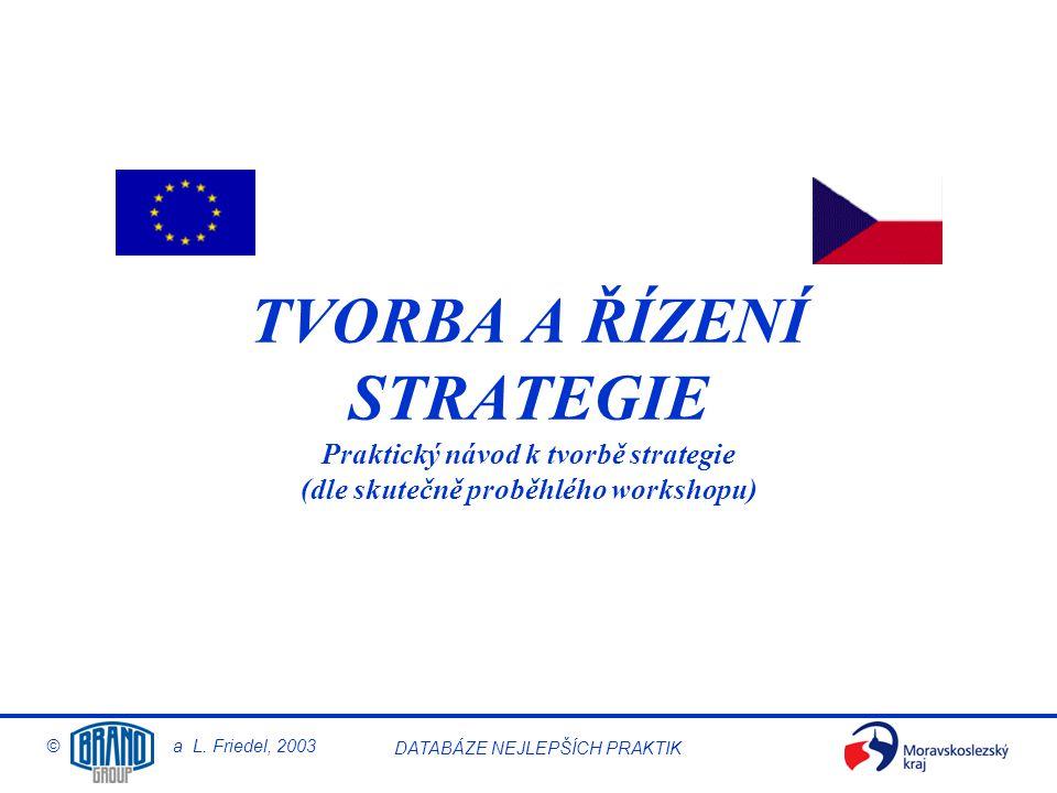 © a L. Friedel, 2003 DATABÁZE NEJLEPŠÍCH PRAKTIK TVORBA A ŘÍZENÍ STRATEGIE Praktický návod k tvorbě strategie (dle skutečně proběhlého workshopu)