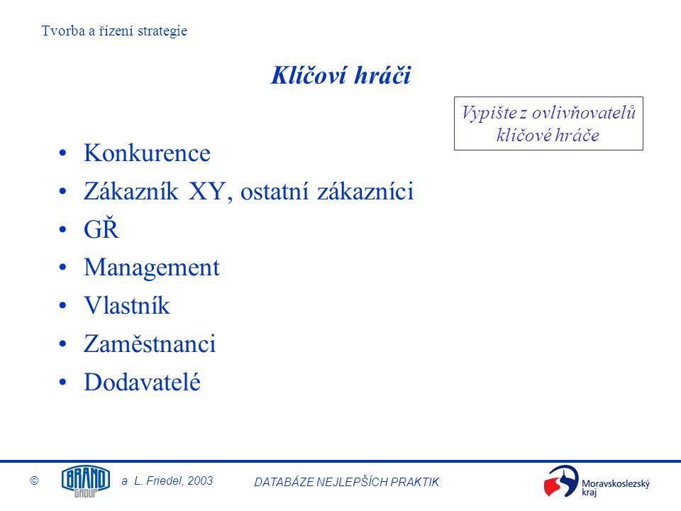 Tvorba a řízení strategie © a L. Friedel, 2003 DATABÁZE NEJLEPŠÍCH PRAKTIK Klíčoví hráči Konkurence Zákazník XY, ostatní zákazníci GŘ Management Vlast