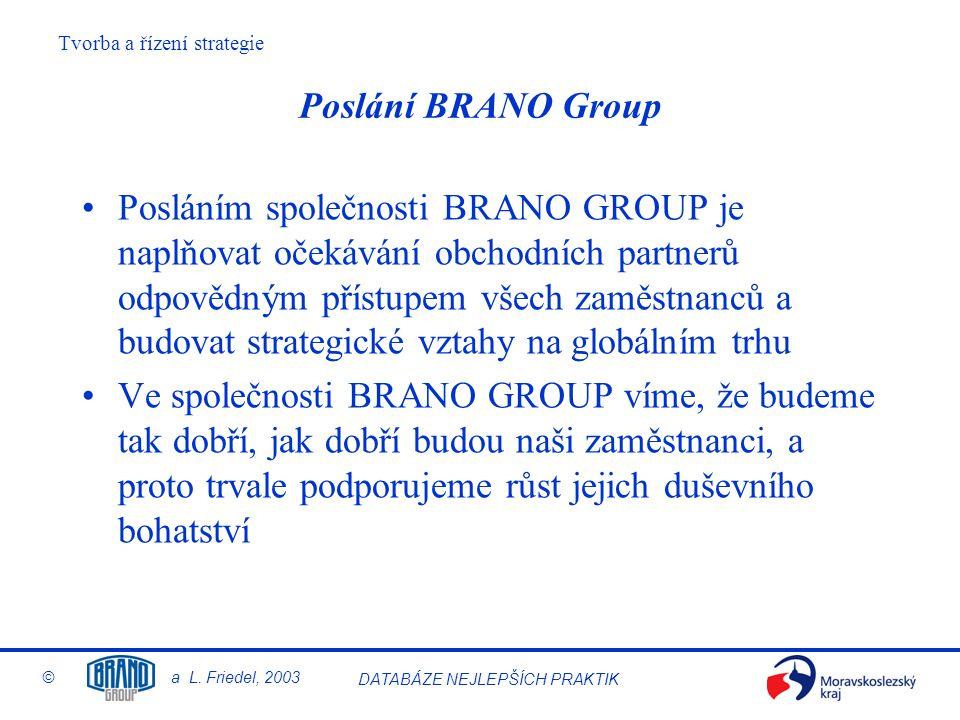 Tvorba a řízení strategie © a L. Friedel, 2003 DATABÁZE NEJLEPŠÍCH PRAKTIK Poslání BRANO Group Posláním společnosti BRANO GROUP je naplňovat očekávání