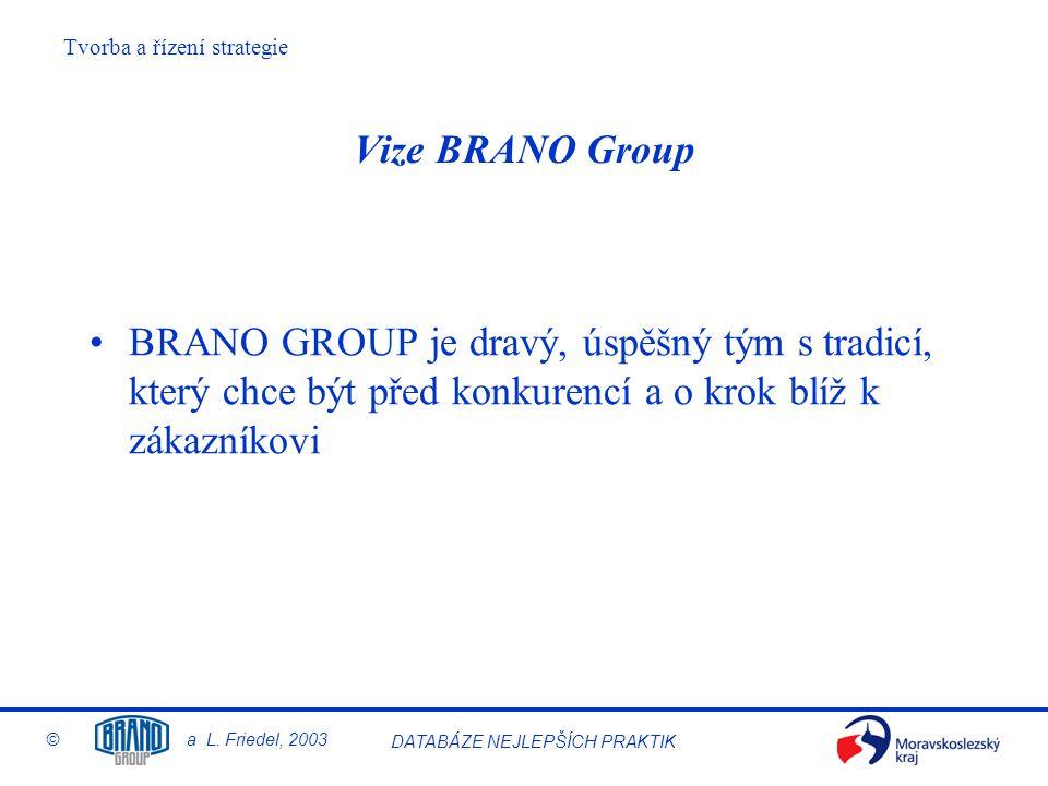 Tvorba a řízení strategie © a L. Friedel, 2003 DATABÁZE NEJLEPŠÍCH PRAKTIK Vize BRANO Group BRANO GROUP je dravý, úspěšný tým s tradicí, který chce bý