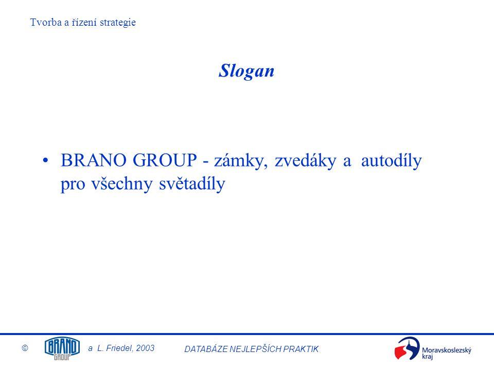 Tvorba a řízení strategie © a L. Friedel, 2003 DATABÁZE NEJLEPŠÍCH PRAKTIK Slogan BRANO GROUP - zámky, zvedáky a autodíly pro všechny světadíly