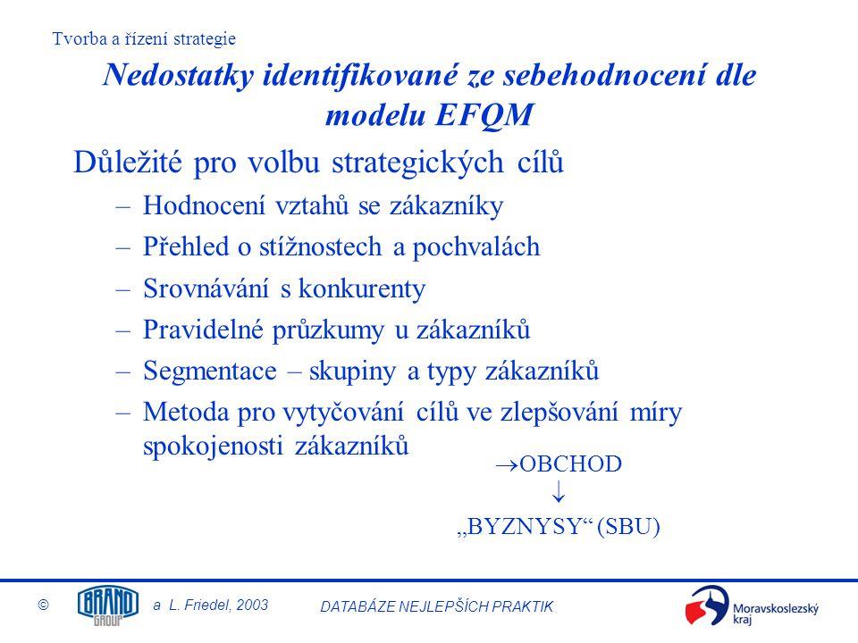 Tvorba a řízení strategie © a L. Friedel, 2003 DATABÁZE NEJLEPŠÍCH PRAKTIK Nedostatky identifikované ze sebehodnocení dle modelu EFQM Důležité pro vol