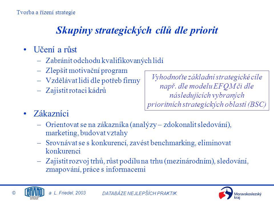 Tvorba a řízení strategie © a L. Friedel, 2003 DATABÁZE NEJLEPŠÍCH PRAKTIK Skupiny strategických cílů dle priorit Učení a růst –Zabránit odchodu kvali