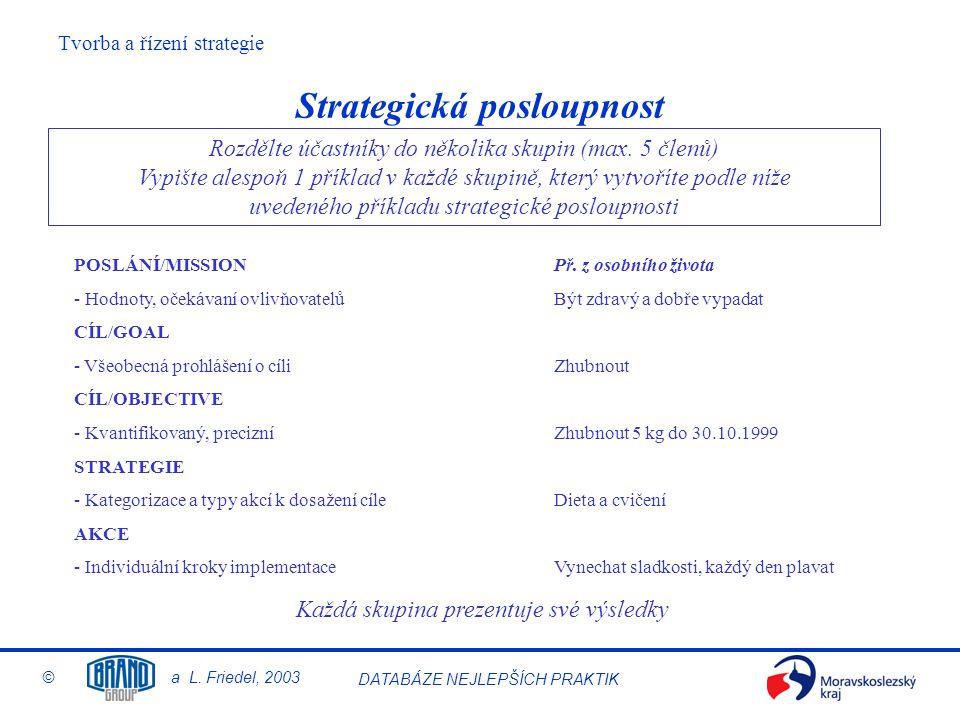 Tvorba a řízení strategie © a L. Friedel, 2003 DATABÁZE NEJLEPŠÍCH PRAKTIK Strategická posloupnost Rozdělte účastníky do několika skupin (max. 5 členů