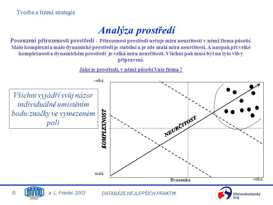 Tvorba a řízení strategie © a L. Friedel, 2003 DATABÁZE NEJLEPŠÍCH PRAKTIK Analýza prostředí Posouzení přirozenosti prostředí - Přirozenost prostředí