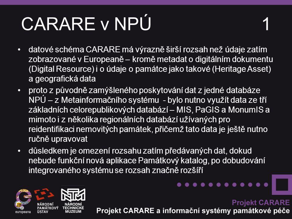 CARARE v NPÚ 1 datové schéma CARARE má výrazně širší rozsah než údaje zatím zobrazované v Europeaně – kromě metadat o digitálním dokumentu (Digital Resource) i o údaje o památce jako takové (Heritage Asset) a geografická data proto z původně zamýšleného poskytování dat z jedné databáze NPÚ – z Metainformačního systému - bylo nutno využít data ze tří základních celorepublikových databází – MIS, PaGIS a MonumIS a mimoto i z několika regionálních databází užívaných pro reidentifikaci nemovitých památek, přičemž tato data je ještě nutno ručně upravovat důsledkem je omezení rozsahu zatím předávaných dat, dokud nebude funkční nová aplikace Památkový katalog, po dobudování integrovaného systému se rozsah značně rozšíří