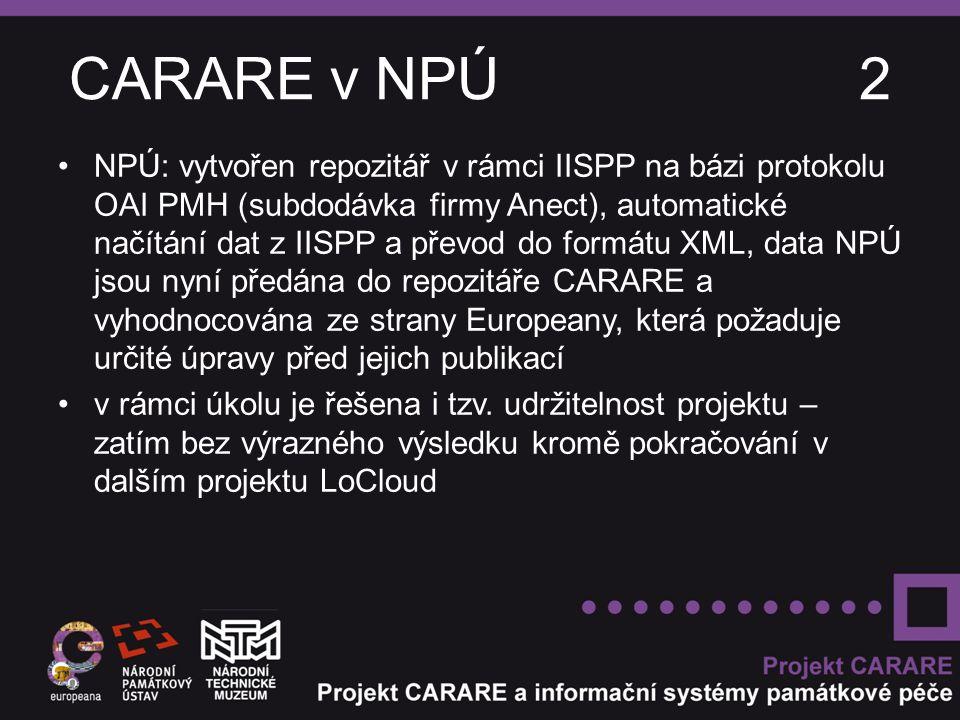 CARARE v NPÚ 2 NPÚ: vytvořen repozitář v rámci IISPP na bázi protokolu OAI PMH (subdodávka firmy Anect), automatické načítání dat z IISPP a převod do formátu XML, data NPÚ jsou nyní předána do repozitáře CARARE a vyhodnocována ze strany Europeany, která požaduje určité úpravy před jejich publikací v rámci úkolu je řešena i tzv.