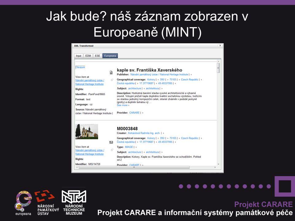 Jak bude náš záznam zobrazen v Europeaně (MINT)