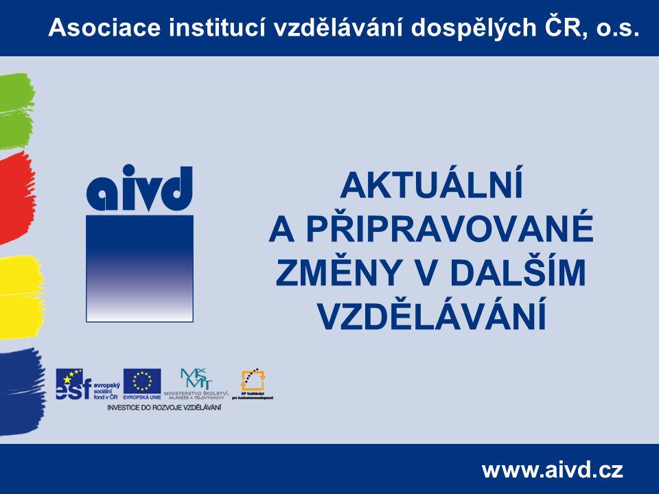 www.aivd.cz AKTUÁLNÍ A PŘIPRAVOVANÉ ZMĚNY V DALŠÍM VZDĚLÁVÁNÍ Asociace institucí vzdělávání dospělých ČR, o.s.