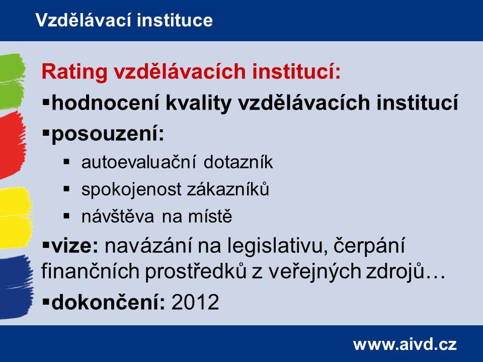 www.aivd.cz Rating vzdělávacích institucí:  hodnocení kvality vzdělávacích institucí  posouzení:  autoevaluační dotazník  spokojenost zákazníků  návštěva na místě  vize: navázání na legislativu, čerpání finančních prostředků z veřejných zdrojů…  dokončení: 2012 Vzdělávací instituce