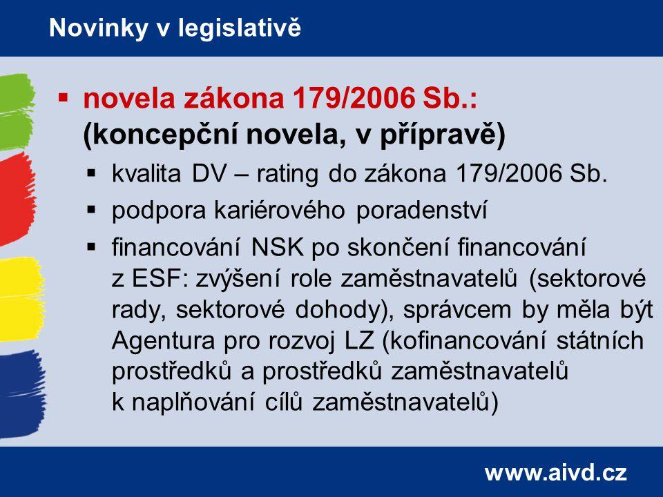www.aivd.cz  novela zákona 179/2006 Sb.: (koncepční novela, v přípravě)  kvalita DV – rating do zákona 179/2006 Sb.