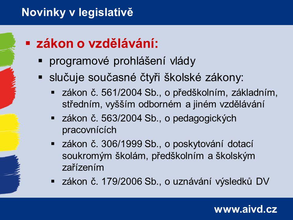 www.aivd.cz  zákon o vzdělávání:  programové prohlášení vlády  slučuje současné čtyři školské zákony:  zákon č.