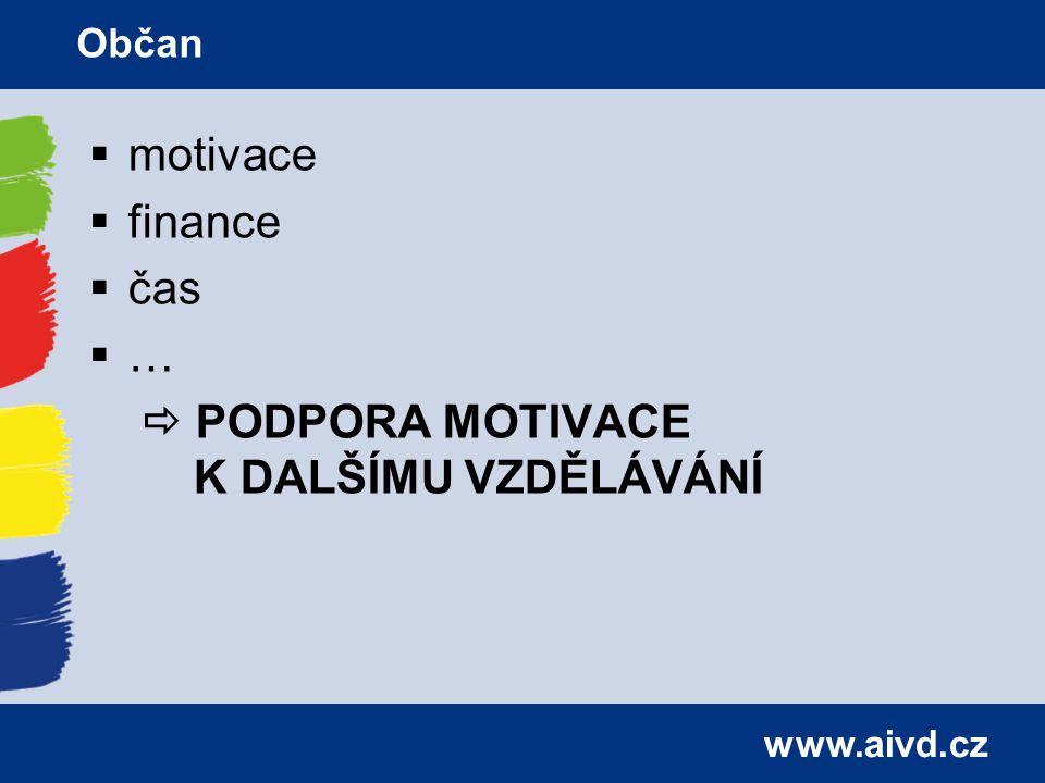 www.aivd.cz  motivace  finance  čas  …  PODPORA MOTIVACE K DALŠÍMU VZDĚLÁVÁNÍ Občan