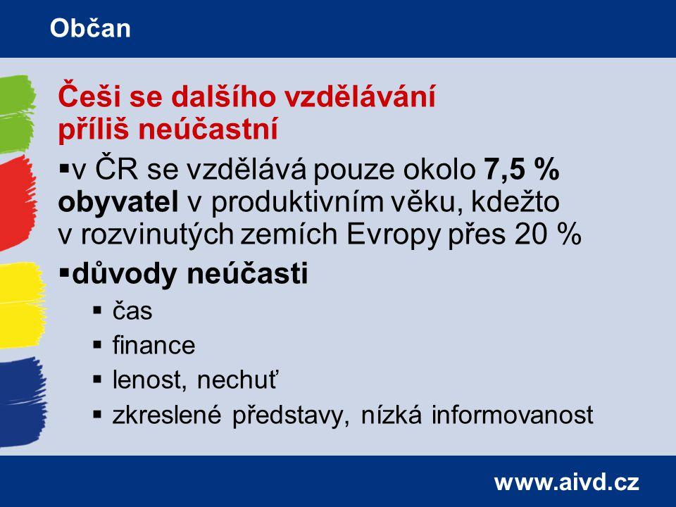 www.aivd.cz Češi se dalšího vzdělávání příliš neúčastní  v ČR se vzdělává pouze okolo 7,5 % obyvatel v produktivním věku, kdežto v rozvinutých zemích Evropy přes 20 %  důvody neúčasti  čas  finance  lenost, nechuť  zkreslené představy, nízká informovanost Občan