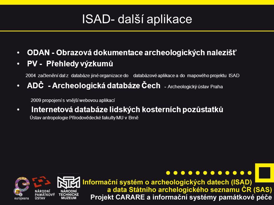 ISAD- další aplikace ODAN - Obrazová dokumentace archeologických nalezišť PV - Přehledy výzkumů 2004 začlenění dat z databáze jiné organizace do datab