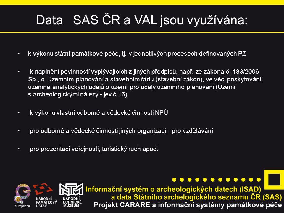 Data SAS ČR a VAL jsou využívána: k výkonu státní památkové péče, tj.