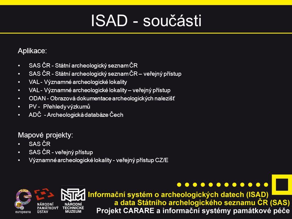 ISAD - součásti Aplikace: SAS ČR - Státní archeologický seznam ČR SAS ČR - Státní archeologický seznam ČR – veřejný přístup VAL - Významné archeologic