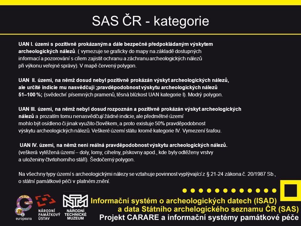 SAS ČR - kategorie UAN I. území s pozitivně prokázaným a dále bezpečně předpokládaným výskytem archeologických nálezů. ( vymezuje se graficky do mapy