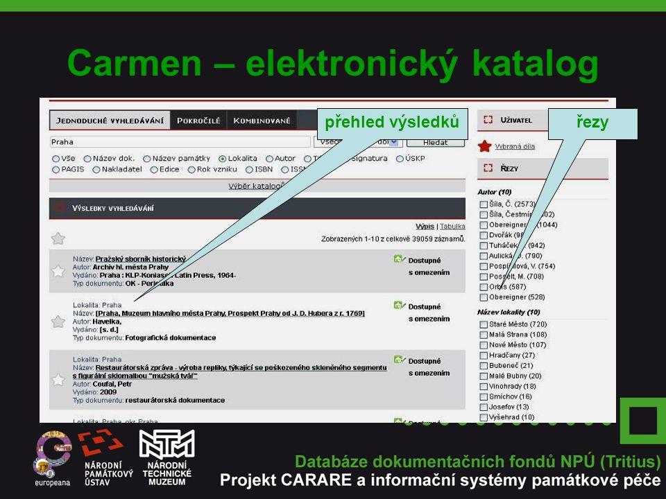 Carmen – elektronický katalog přehled výsledkůřezy
