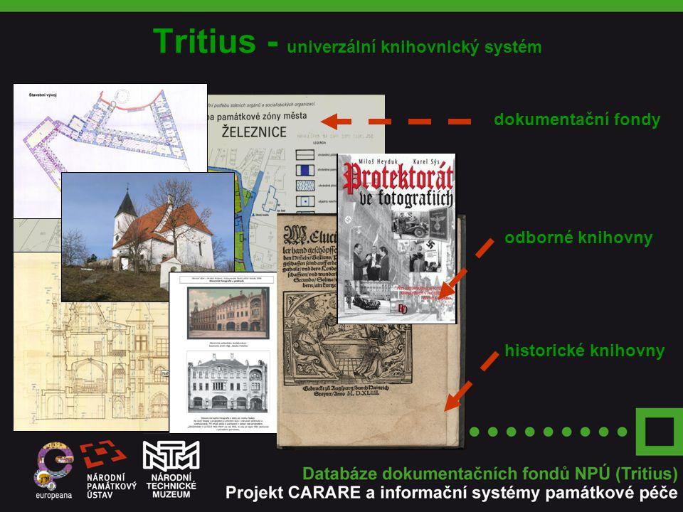 Dokumentační fondy plánová dokumentace mapy a plány území průzkumy posudky, zprávy restaurátorská dokumentace ikonografická dokumentace fotografická dokumentace audiovizuální dokumentace