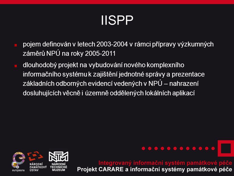 IISPP ■ pojem definován v letech 2003-2004 v rámci přípravy výzkumných záměrů NPÚ na roky 2005-2011 ■ dlouhodobý projekt na vybudování nového komplexního informačního systému k zajištění jednotné správy a prezentace základních odborných evidencí vedených v NPÚ – nahrazení dosluhujících věcně i územně oddělených lokálních aplikací